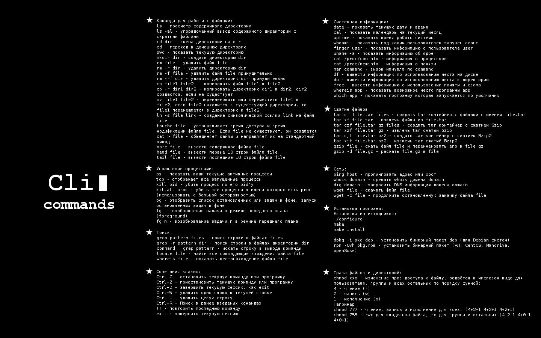 Wallpaper c основными командами для начинающих в Linux. CLI commands.