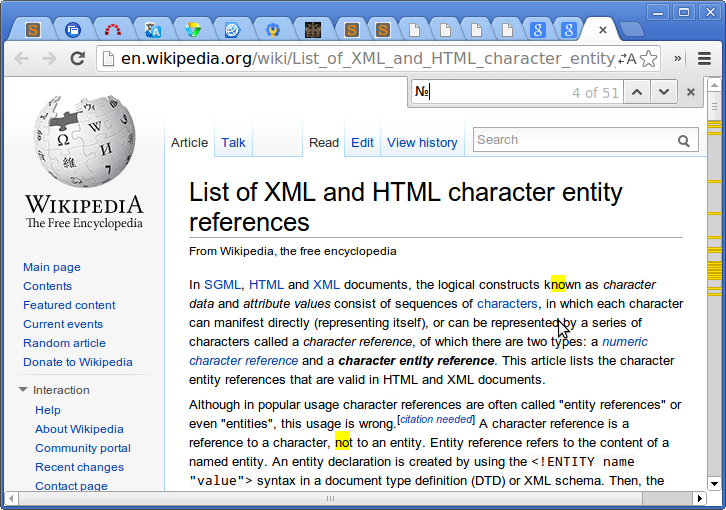 Screenshot-List of XML and HTML character entity references - Wikipedia, the free encyclopedia - Google Chrome